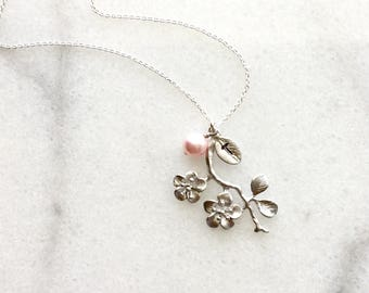 Personalized Cherry Blossom Pink Pearl Necklace in Silver-  dainty, spring, bridal bridesmaids jewelry, also available in gold.