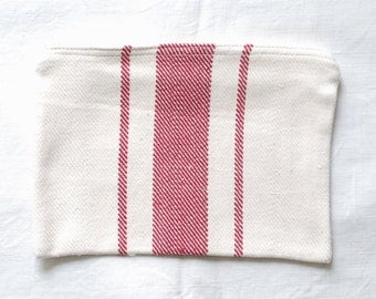 VINTAGE Grainsack Zippered Pouch - Wide Dark Red Stripes