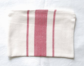 VINTAGE Grainsack Zippered Pouch - Wide Dark Red Stripes