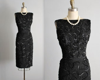 50's Sequin Dress // Vintage 1950's Black Sequined Marilyn Cocktail Party Wiggle Dress XS