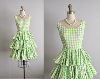 60's Ruffle Dress // Vintage 1960's Green Gingham Cotton Full Ruffle Skirt Garden Party Picnic Shirtwaist Dress XS