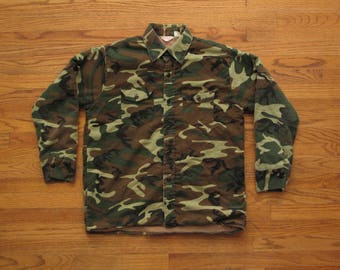 mens vintage quilted camouflage shirt