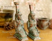 RESERVED for Corinda - Nephthys and Auset Altar Statues - Egyptian Goddesses - Sisters - Handcrafted with Copper Patina Finish