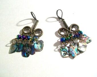 Chandelier Earrings, Abalone Paua Shell Bronze Earrings, Abalone Earrings, Statement Earrings, Select Ear Wires