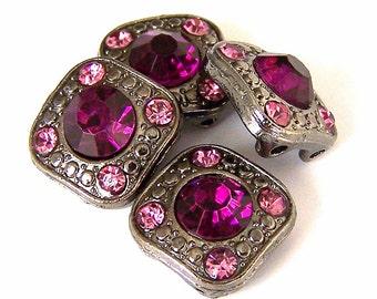 4 amethyst purple 2 hole slider beads, 12mm small purple rhinestone square two hole beads