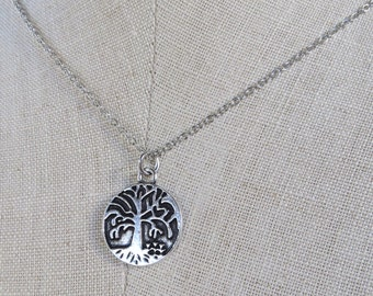 Tree of Life Necklace, Minimal Tree of Life Silver Pendant Necklace, Silver Tree of Life Disc Pendant, by MagpieMadness for Etsy