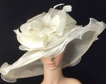 Ivory Wedding Bridal Hat with big Bow and Feather Flower , Ivory Kentucky Derby Hat,Church Dress Hat ,Bridal Wedding Hat,Tea Party Hat Ascot