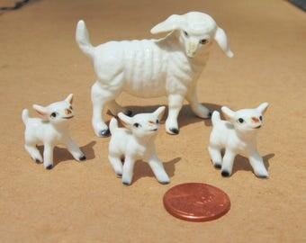 Miniature. SHEEP. Sheep FAMILY. Lamb. Figurine. Sheep Figurine. Bone China. Farm Animal Figurine. 4 pc set. Miniature. Animal Set. Figurines