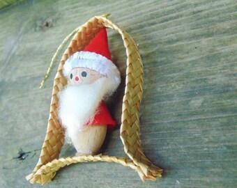 Swedish Christmas. Sweden. Santa. Christmas Ornament. Tonte Santa. Woven Ornament. 1980s. Hand Made. ornament. wooden ornament.
