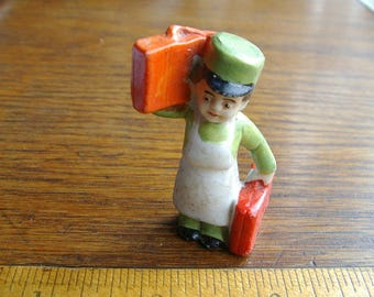 DOLLHOUSE MINIATURE. Miniature Man. Hotel Porter. Hotel Bellhop. Man Figurine. German bisque. Dollhouse Figure. miniature figurine. 1920s