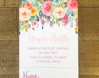 digital floral baby shower diaper raffle cards, printable flower diaper raffle card, floral header baby shower card, baby shower diaper card