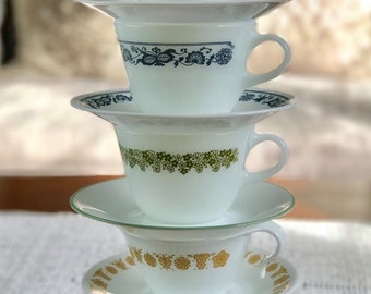 Vintage Tea Coffee Cup with a Saucer Mug Pyrex Corning Corelle Fire King Milk glass microwave safe MADE IN USA