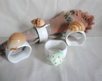 4 Shell Napkin Rings Vintage All Different Bone China