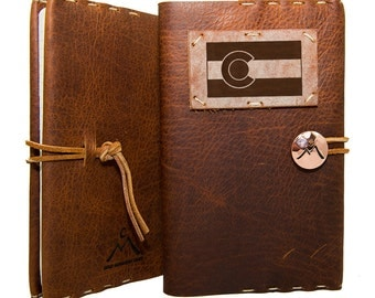 "Whiskey Ember Leather Journal with Colorado Flag 5.5"" x 8.5"""