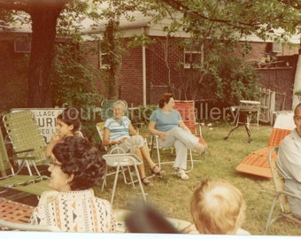 Vintage Photo, Backyard Barbecue, Green Lawn, Beach Chairs, men, Women, Kids, Color Photo, Found Photo, Old Photo, Family Photo, Snapshot