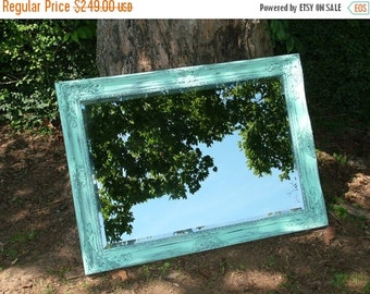 ON SALE Shabby Chic Mirror,  Large Mirror, Shown in Distressed Aqua or Choose Color , Bathroom mirror, Size, 42 x 30, Seaside Beach Cottage