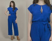 70s Jumpsuit Cobalt Blue Keyhole Neckline Zip Up Ribbed Terry Cloth 1970s Hippie Belted Wide Leg Pants Disco Playsuit / Size M Medium