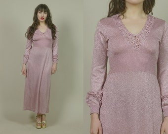 70s Party Dress Pink Lurex Knit Metallic Silver Cocktail Party Woven Floral V Neck Maxi Puff Sleeves 1970s Mod NYE / Size S M Small Medium