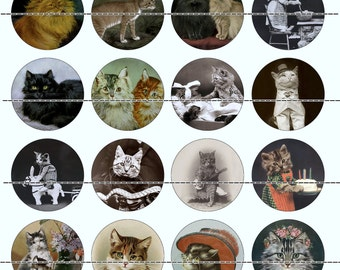"""Victorian Cat Magnets~Cat Magnets~Victorian Cat Pins~Cat Pins~Fridge Magnets~Party Favors~Gift Set~Cat Lover Gift~1"""" Flat~Hollow~Cabs~12ct"""