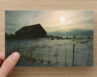 Barn and Winter Sunrise with Snow and Ice Art Photography on Blank Note Card Unique Christmas Card Wonderful All Occasion Card B3G1F