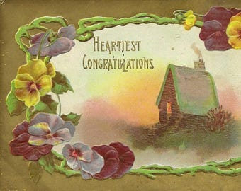 Antique Postcard Pansy Garland and Country Cottage – Heartiest Congratulations 1909 Oakville and Glenorchy Closed Post Office Cancels