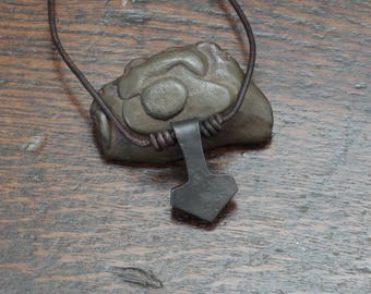 Small pure Iron Thor's hammer Pendant