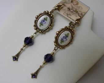 Purple Guilloche Vintage 1940's French Guilloche Swarovski Crystal Long Dangle Earrings, Pendulum Spike Earrings, Violets