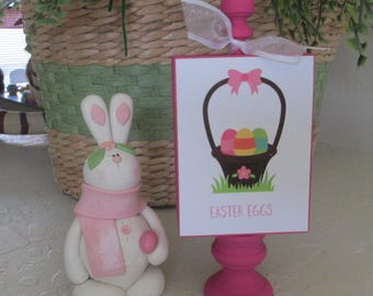 Easter Egg Basket Standing Wooden Sign  - Easter - Wooden Easter Sign