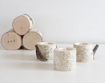 white birch tree candle holders - set of 3, birch candle holders, log candle holder, wooden candle holders, rustic candle holders