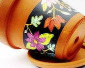 "Hand Painted Flower Pot ""Bloomed Collection"" Vintage Terracotta 6.5 Inch Planter- Ready to Ship"