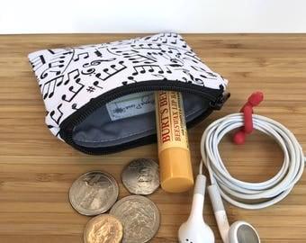 Music Coin Purse, Music Coin Zipper Pouch, Card Zipper Pouch, Music Ear Bud Case, Purse Organizer, Back to School, Backpack Organizer