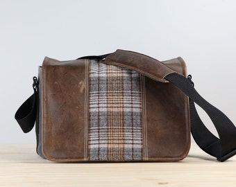 Medium-Long – Gray Tan Tartan Leather Camera Bag Satchel- IN-STOCK