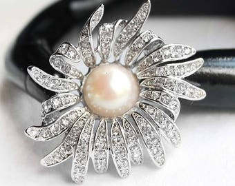 Vintage D'ORLAN Crystal Rhinestone and Faux Pearl Rhodium-Plated Floral Brooch