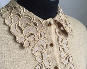 50's Oh So Beautiful Beige Tan Pure Cashmere Cardigan Lace Embroidered Collar and Cuffs With Rhinestone Buttons
