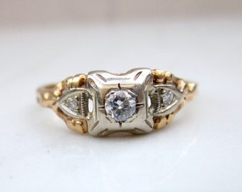 Antique Art Deco Diamond Illusion Setting Engagement Ring in 14k Solid White Gold and 14k Solid Yellow Gold, Size 5.75