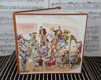 Symphony Orchestra Sketchbook Journal with Vintage Illustration of Band Musicians in Concert