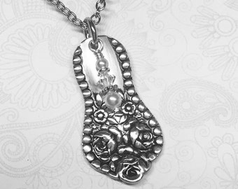 """Antique Spoon Necklace, Spoon Pendant, White Pearls & Crystals, Silverware Jewelry, """"Rose"""" 1910"""