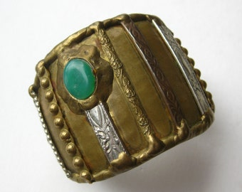 Vintage Organic Brass Brutalist Cuff Bracelet