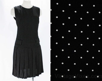 Size 2 Polka Dot Dress - 60s Black & White Crepe - 20s Flapper Style - XS 1960s Summer Sleeveless Drop Waist Pleated Skirt - Hip 34 - 47601
