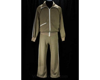 Men's Small Track Suit - Retro 1970s Khaki Tan Jogging Suit - 70s Mens Athletic Jacket & Pant with Racing Stripes - Waist 29 to 33 - 48333