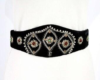 XL 1990s India Belt - 90s Plush Black Velvet & Metallic Cord with Beading - Brown Green Gold - 40s Look Evening Accessory - Waist 36 - 48556