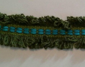 Funky Vintage Green Fringe Sewing Trim 12 Yards by 1 Inch Wide L0584 Will Divide