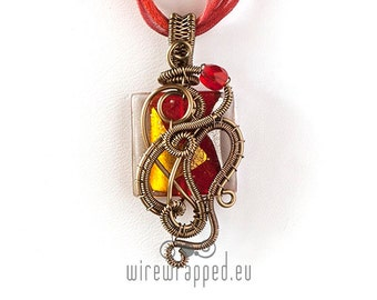 OOAK red wire wrapped pendant