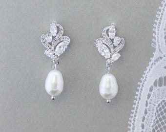Crystal Bridal Earrings, Crystal and Pearl Drop Earrings, Bridal Jewelry, Wedding Jewelry, FLEUR