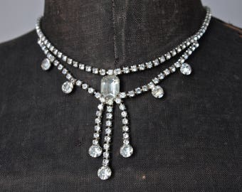 Czech Necklace 60's Clear Rhinestone Mad Men Princess Style Fringed Necklace