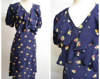 1930s Navy blue floral print rayon day dress / 30s 40s dark blue flower printed ruffle frill dress - S M