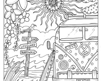 5 pages beachy escape coloring digital color pages shells ocean surf tiki dolpjins palm trees instant - Tiki Coloring Pages