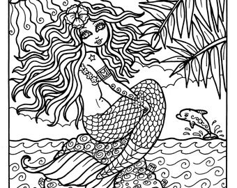 Instant Download Digi Stamp Mermaid from Hawaii Adult Coloring Color Book Art Tropical Ocean Dolphin Scrapbooking
