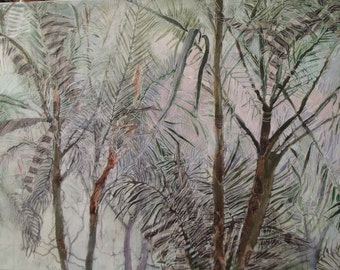Painting of Trees, Canvas and Acrylic and Mixed Media