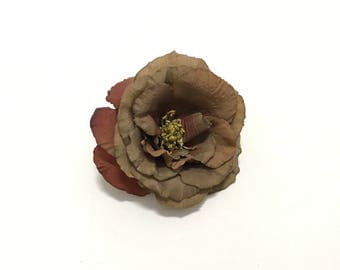 Fully Bloomed Chocolate Brown Artificial Rose - Artificial Flowers, Silk Flower, Wedding, Hair Accessories, Flower Crown, Millinery